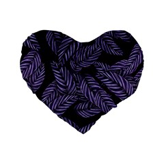 Tropical Leaves Purple Standard 16  Premium Flano Heart Shape Cushions
