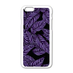 Tropical Leaves Purple Apple Iphone 6/6s White Enamel Case
