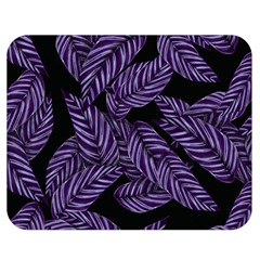 Tropical Leaves Purple Double Sided Flano Blanket (medium)