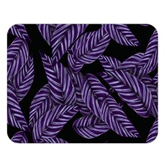 Tropical Leaves Purple Double Sided Flano Blanket (large)