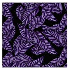 Tropical Leaves Purple Large Satin Scarf (square)