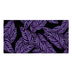 Tropical Leaves Purple Satin Shawl