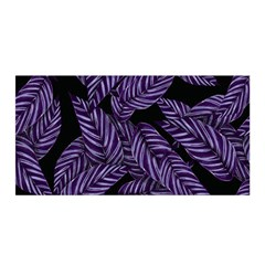Tropical Leaves Purple Satin Wrap