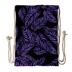 Tropical Leaves Purple Drawstring Bag (large)