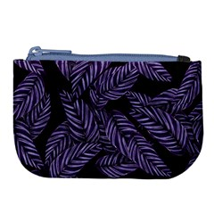 Tropical Leaves Purple Large Coin Purse