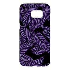 Tropical Leaves Purple Samsung Galaxy S7 Edge Hardshell Case