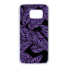 Tropical Leaves Purple Samsung Galaxy S7 White Seamless Case