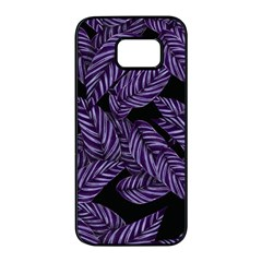 Tropical Leaves Purple Samsung Galaxy S7 Edge Black Seamless Case