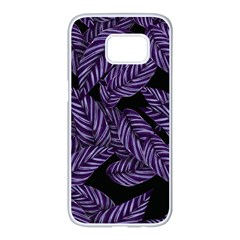 Tropical Leaves Purple Samsung Galaxy S7 Edge White Seamless Case by vintage2030