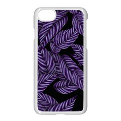 Tropical Leaves Purple Apple Iphone 7 Seamless Case (white)