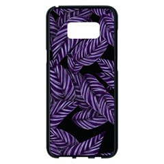 Tropical Leaves Purple Samsung Galaxy S8 Plus Black Seamless Case