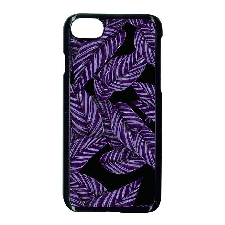 Tropical Leaves Purple Apple iPhone 8 Seamless Case (Black)