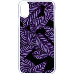 Tropical Leaves Purple Apple Iphone X Seamless Case (white)