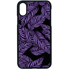 Tropical Leaves Purple Apple Iphone X Seamless Case (black)