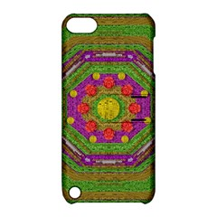Flowers In Rainbows For Ornate Joy Apple Ipod Touch 5 Hardshell Case With Stand by pepitasart
