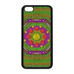 Flowers In Rainbows For Ornate Joy Apple Iphone 5c Seamless Case (black) by pepitasart