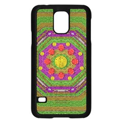 Flowers In Rainbows For Ornate Joy Samsung Galaxy S5 Case (black) by pepitasart