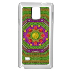 Flowers In Rainbows For Ornate Joy Samsung Galaxy Note 4 Case (white) by pepitasart