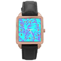 Branches Leaves Colors Summer Rose Gold Leather Watch