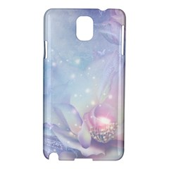 Wonderful Floral Design With Butterflies Samsung Galaxy Note 3 N9005 Hardshell Case by FantasyWorld7
