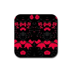 Pink Floral Pattern By Flipstylez Designs Rubber Square Coaster (4 Pack)  by flipstylezdes