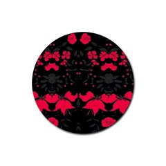 Pink Floral Pattern By Flipstylez Designs Rubber Round Coaster (4 Pack)