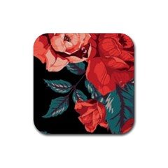 Bed Of Bright Red Roses By Flipstylez Designs Rubber Square Coaster (4 Pack)  by flipstylezdes