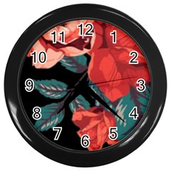 Bed Of Bright Red Roses By Flipstylez Designs Wall Clock (black) by flipstylezdes