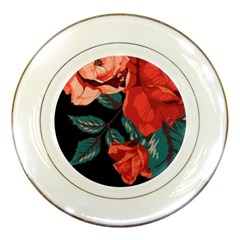 Bed Of Bright Red Roses By Flipstylez Designs Porcelain Plates