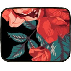 Bed Of Bright Red Roses By Flipstylez Designs Fleece Blanket (mini)