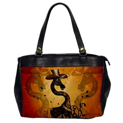 Funny Steampunk Giraffe With Hat Oversize Office Handbag by FantasyWorld7