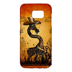 Funny Steampunk Giraffe With Hat Samsung Galaxy S7 Edge Hardshell Case
