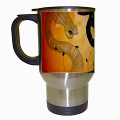 Funny Steampunk Giraffe With Hat Travel Mugs (white) by FantasyWorld7