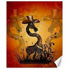 Funny Steampunk Giraffe With Hat Canvas 8  X 10  by FantasyWorld7