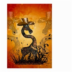 Funny Steampunk Giraffe With Hat Small Garden Flag (two Sides) by FantasyWorld7