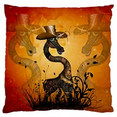 Funny Steampunk Giraffe With Hat Large Cushion Case (two Sides) by FantasyWorld7