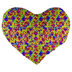 Multicolored Linear Pattern Design Large 19  Premium Flano Heart Shape Cushions by dflcprints