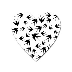 Vintage Birds Pattern Heart Magnet by Valentinaart