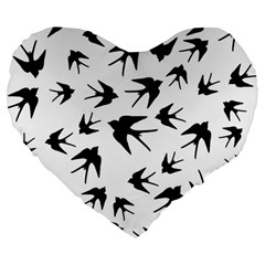 Vintage Birds Pattern Large 19  Premium Flano Heart Shape Cushions