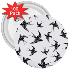 Birds Pattern 3  Buttons (100 Pack)