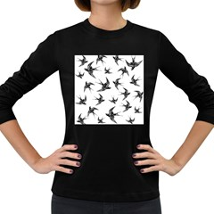 Birds Pattern Women s Long Sleeve Dark T Shirt