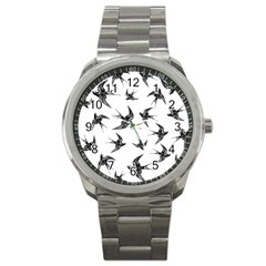 Birds Pattern Sport Metal Watch