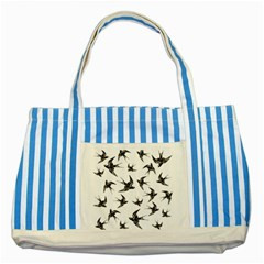 Birds Pattern Striped Blue Tote Bag