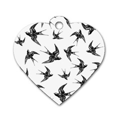 Birds Pattern Dog Tag Heart (two Sides)