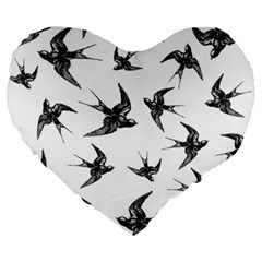 Birds Pattern Large 19  Premium Heart Shape Cushions