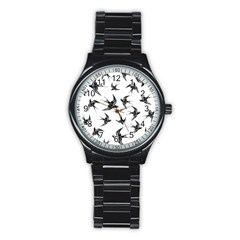 Birds Pattern Stainless Steel Round Watch