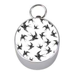 Birds Pattern Mini Silver Compasses