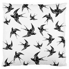 Birds Pattern Large Flano Cushion Case (one Side)