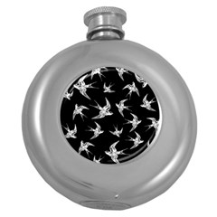 Birds Pattern Round Hip Flask (5 Oz)