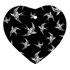 Birds Pattern Heart Ornament (two Sides)